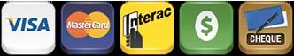 Visa, Mastercard, Interac